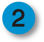 "NUMBERS - 2 (Blue) 1.5"" diameter circle"