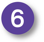 "NUMBERS - 6 (Purple) 1.5"" diameter circle"