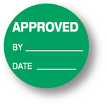 "QUALITY - Approved/ By / Date (green)1.5"" diameter circle"
