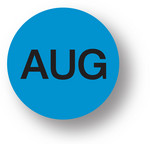 "MONTH- August (Blue)1.5"" diameter circle"