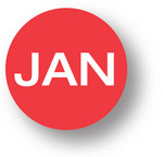 "MONTH- January (Red) 1.5"" diameter circle"
