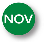 "MONTH - November (Green) 1.5"" diameter circle"
