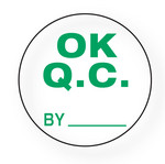 "QUALITY - OK QC / by (White) 1.5"" diameter circle"