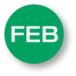 "MONTH- February (Bright green) 1.5"" diameter circle"