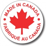 """MADE IN CANADA - 3.5"""" die cut circle - Red on White"""