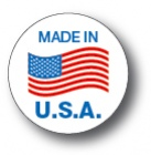 "MADE IN USA - 1.5"" Die Cut Circle - Blue and Red on White"