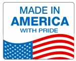 "MADE IN USA - 3"" x 3.75"" Die Cut Rectangle - Blue and Red on White"