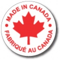 """MADE IN CANADA - 1.5"""" Die Cut Circle - Red on White"""
