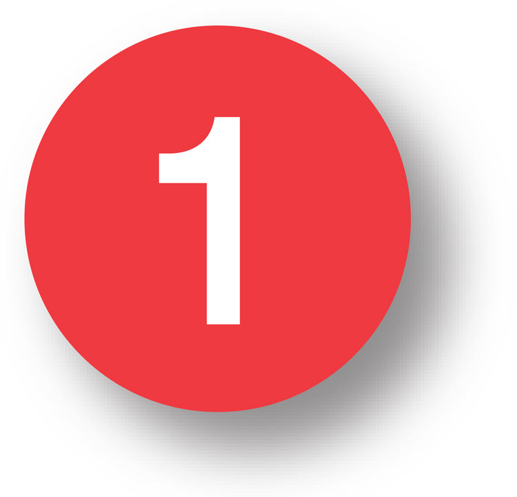 """NUMBERS -1 (Red) 1.5"""" diameter circle"""