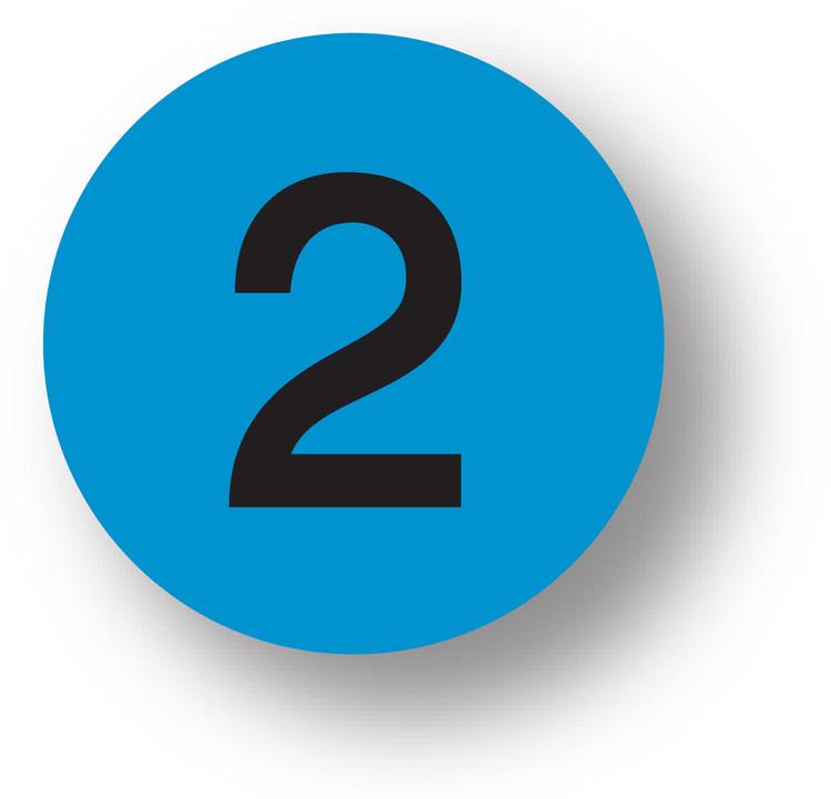 "NUMBERS - 2 (Blue) 1.5"" diameter circle"