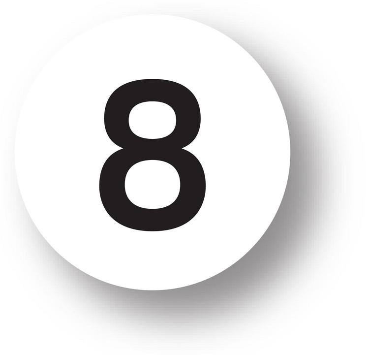 "NUMBERS - 8 (White) 1.5"" diameter circle"