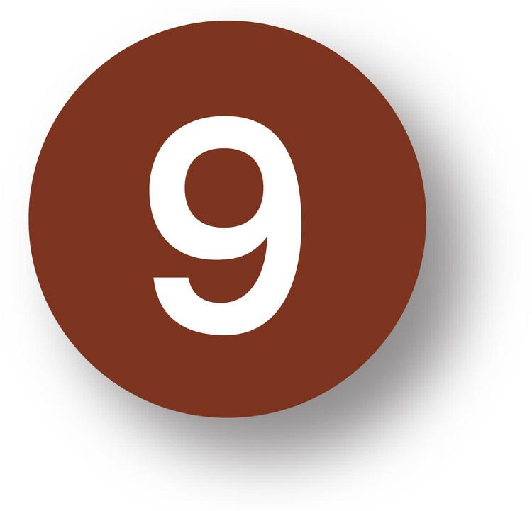"""NUMBERS - 9 (Brown) 1.5"""" diameter circle"""