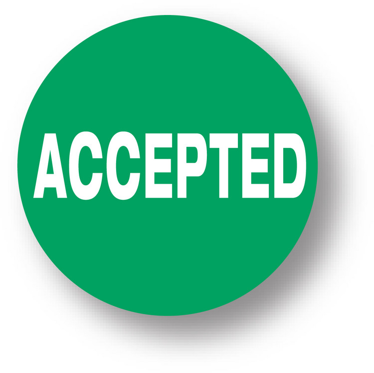 """QUALITY - Accepted (green)1.5"""" diameter circle"""