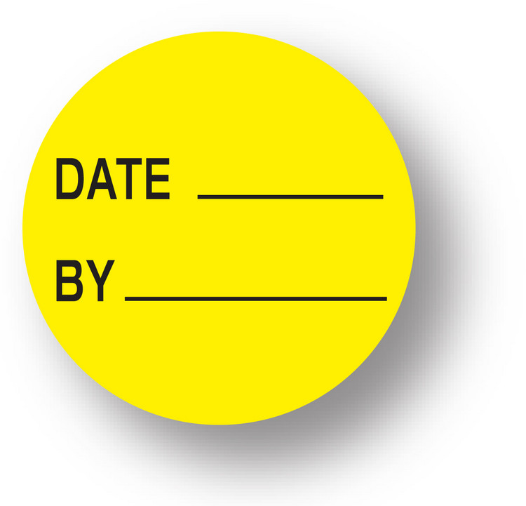 "QUALITY - Date/ By (Yellow)1.5"" diameter circle"