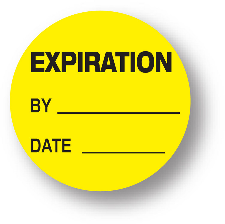 "QUALITY - Expiration /By /Date (Yellow)1.5"" diameter circle"