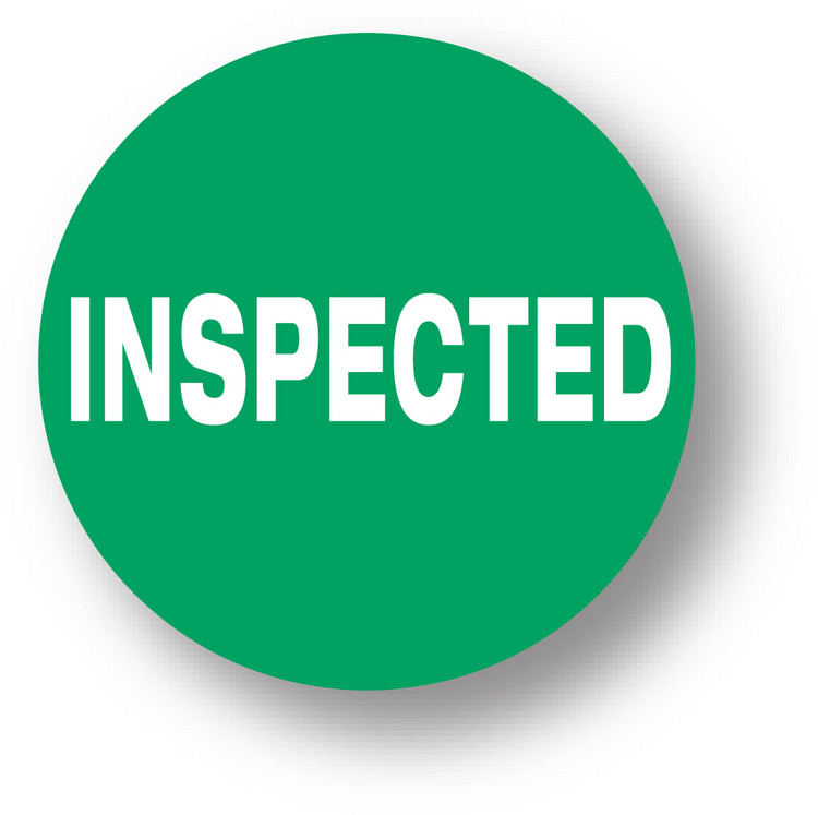 "QUALITY - Inspected (Green) 1.5"" diameter circle"