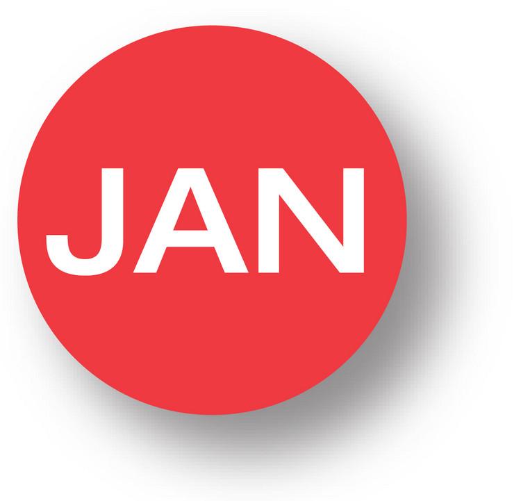 "MONTH- January (Red) 1.5"" diameter circle"