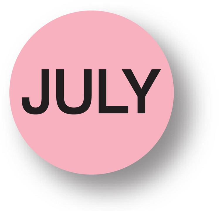 """MONTH- July (Pink) 1.5"""" diameter circle"""