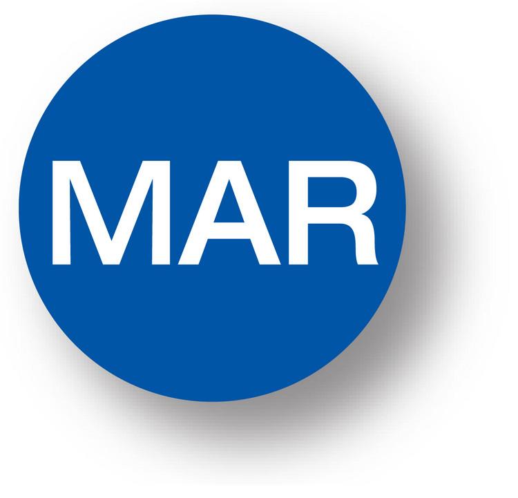 "MONTH - March (Blue) 1.5"" diameter circle"