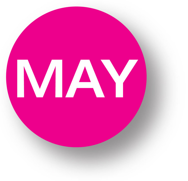 "MONTH - May (Magenta) 1.5"" diameter circle"