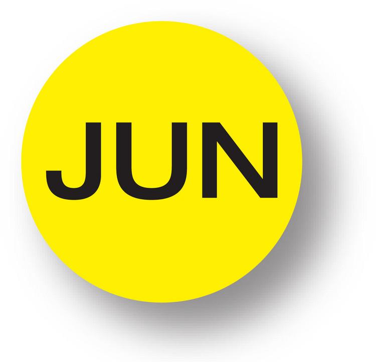 """MONTH - June (Yellow) 1.5"""" diameter circle"""