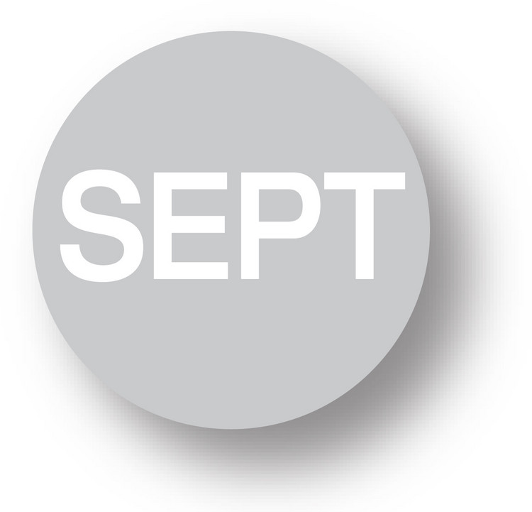 "MONTH - September (Grey) 1.5"" diameter circle"