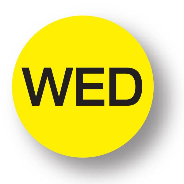 """DAY - Wednesday (Yellow) 1.5"""" diameter circle"""