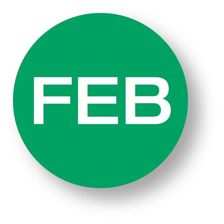 "MONTH- February (Bright green) 1.5"" diameter circle"