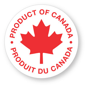 "PRODUCT OF CANADA - .75"" dia. circle - Red on White"