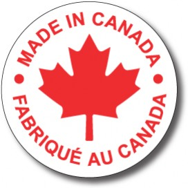 "MADE IN CANADA - 3.5"" die cut circle - Red on White"