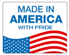 """MADE IN USA - 3"""" x 3.75"""" Die Cut Rectangle - Blue and Red on White"""