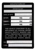 Registered Importer Passenger Car Labels