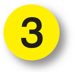 "NUMBERS - 3 (Yellow) 1.5"" diameter circle"