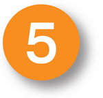"NUMBERS - 5 (Orange) 1.5"" diameter circle"