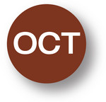 "MONTH - October (Brown) 1.5"" diameter circle"