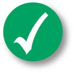 "QUALITY - Check Mark (Green) 1.5"" diameter circle"
