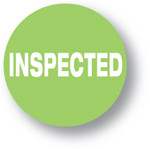 """QUALITY - Inspected (Green) 1.5"""" diameter circle"""