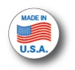 "MADE IN USA - 1"" Die Cut Circle - Blue and Red on White"