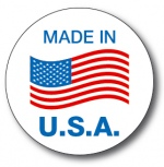 MADE IN USA - 3.5 Die Cut Circle - Blue and Red on White
