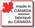 "MADE IN CANADA - 3"" x 4"" Die Cut Rectangle- Black and Red on White"